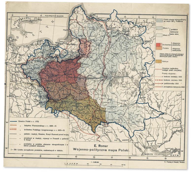 Mapa ziem polskich stworzona przez wybitnego kartografa Eugeniusza Romera ok. 1916 r.