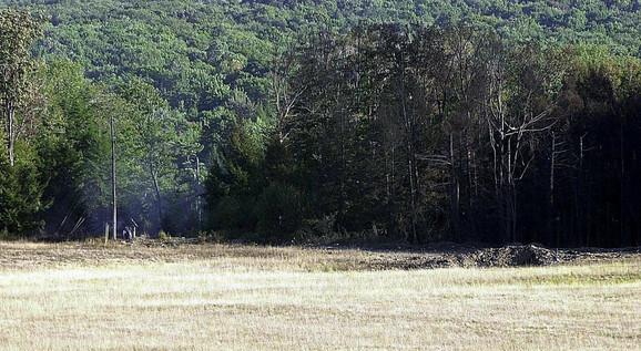 Krater na mestu pada leta 93
