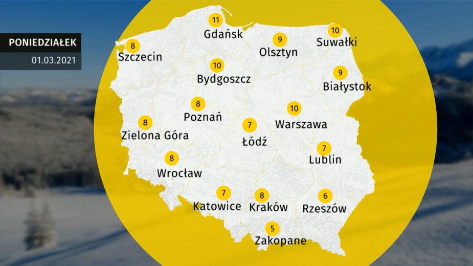 Prognoza pogody dla Polski. Jaka pogoda 1 marca 2021?