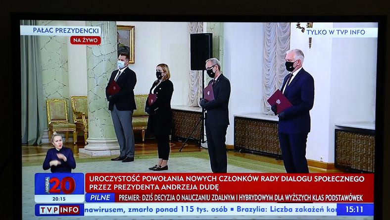 Adam Niedzielski i Przemysław Czarnek podczas powołania gabinetu Mateusza Morawieckiego