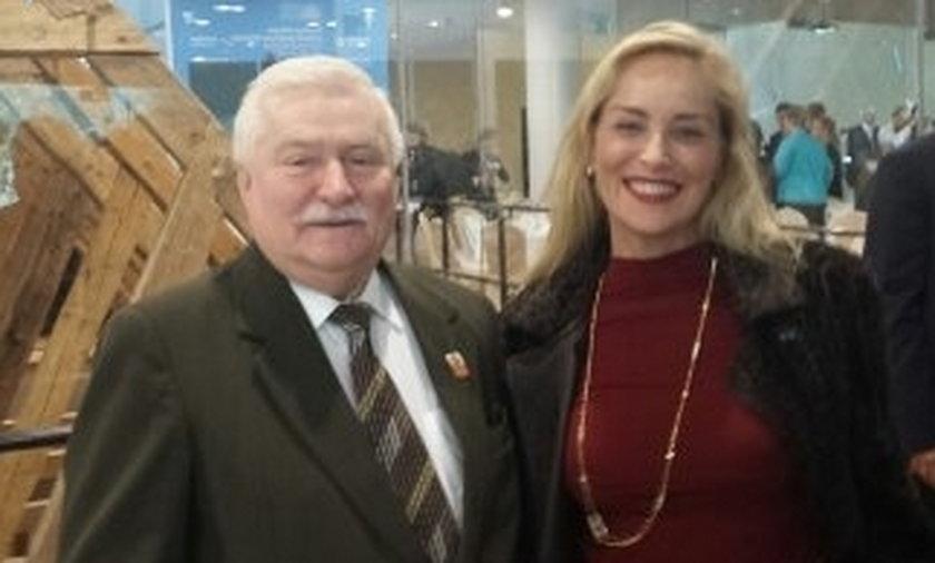 Lech wałęsa i Sharon stone