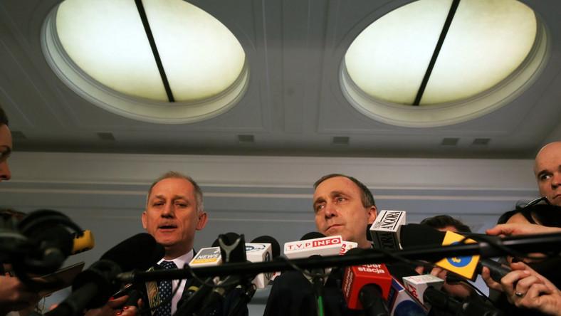 Przewodniczący KP PO Sławomir Neumann i przewodniczący PO Grzegorz Schetyna