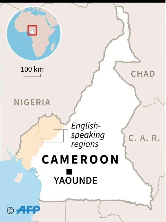 Map of Cameroon, locating English-speaking regions