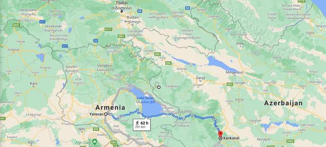 Udaljenost Jervana od Stepanakerta, najvećeg grada u spornoj oblasti Nagorno-Karabah oko koje se i vode ratna dejstva