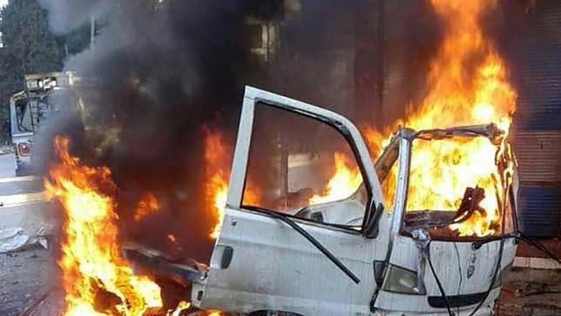 This handout picture made available by Syria's official news agency SANA on January 22, 2019, shows a burning vehicle in the Syrian regime's coastal stronghold of Latakia