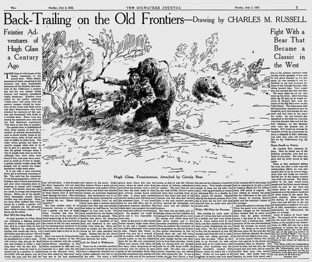 Novinski članak o borbi Hjua Glasa i medveda