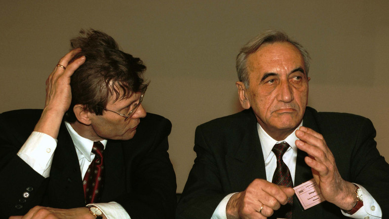 Leszek Balcerowicz i Tadeusz Mazowiecki w 1995 roku