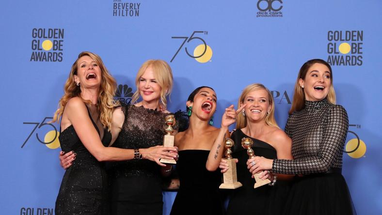 """Laura Dern, Nicole Kidman, Zoe Kravitz, Reese Witherspoon oraz Shailene Woodley z nagrodą za """"Wielkie kłamstewka"""""""