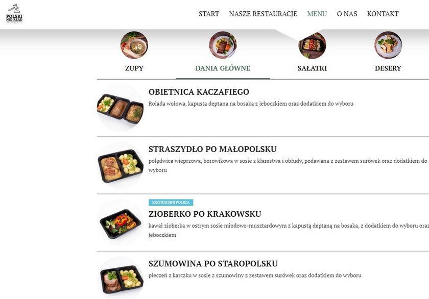 Menu Polskiego Nie-Rządu jest polskie, tradycyjne, ale nazwy potraw - oryginalne.