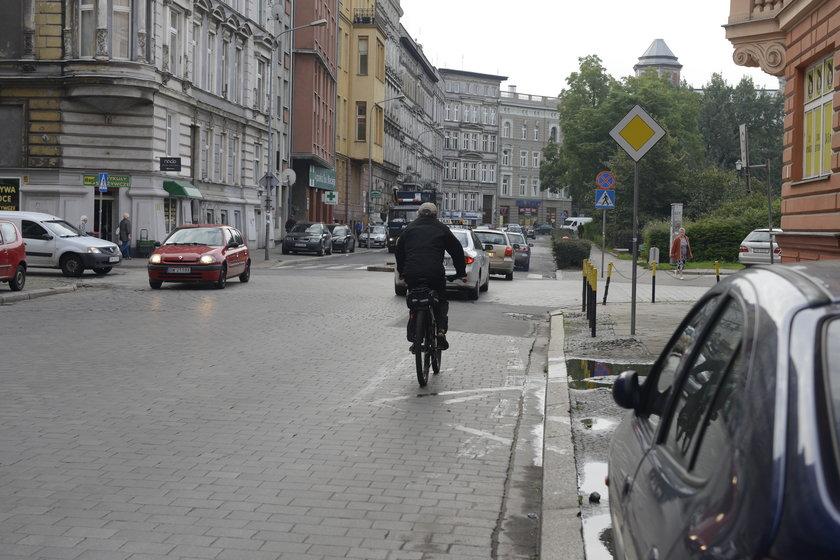 Rowerzysta na Trzebnickiej
