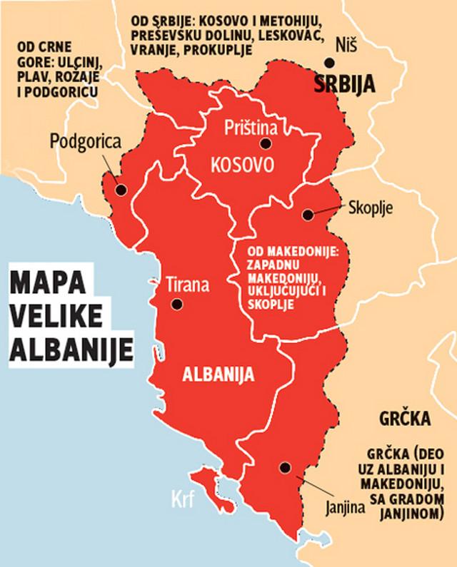 grafika mapa velika albanija foto RAS