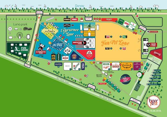 Mapa ulaza i izlaza na Bir festu