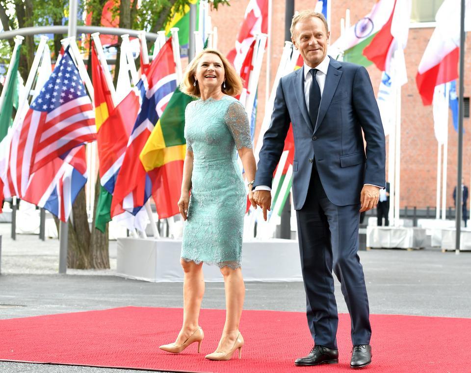 Szef Rady Europejskiej Donald Tusk z małżonką Małgorzatą