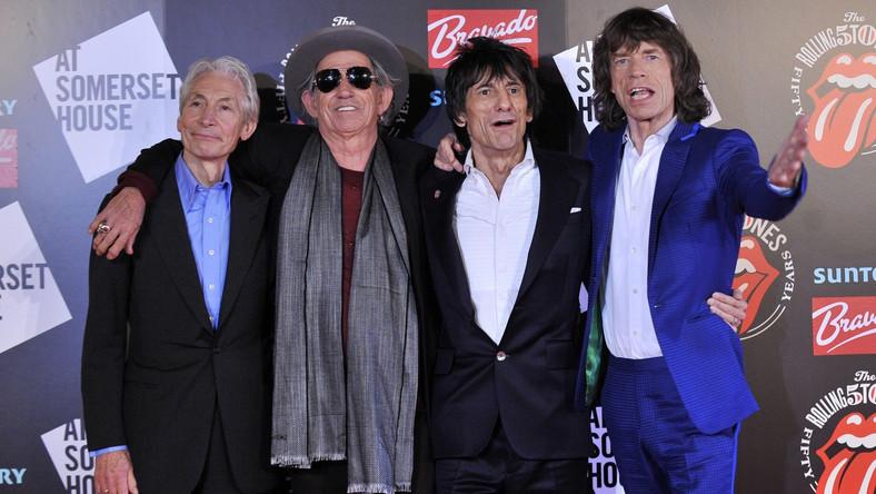 "Charlie Watts, Keith Richards, Ronnie Wood i Mick Jagger na otwarciu wystawy ""Rolling Stones 50"""
