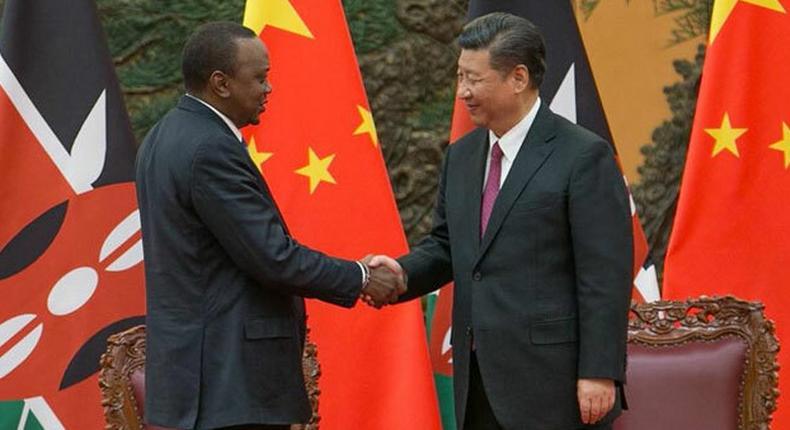 File image of President Kenyatta with Chinese leader Xi Jinping