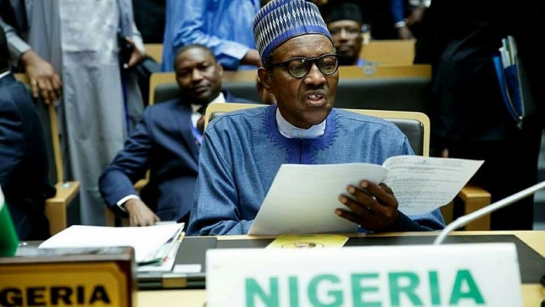 Picture of President Muhammadu Buhari at AU Summit used to illustrate the story (Premium Times)