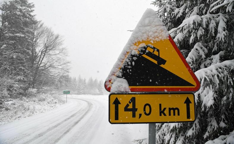 Intensywne opady śniegu w okolicy Arłamowa na Pogórzu Przemyskim (woj. podkarpackie)