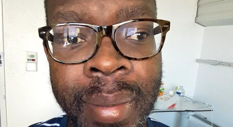 Photo shared by Kibra MP Ken Okoth after follower asked about his condition (Twitter)