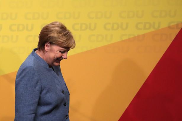 Angela Merkel w siedzibie CDU w Berlinie w czasie wieczoru wyborczego, 24.09.2017