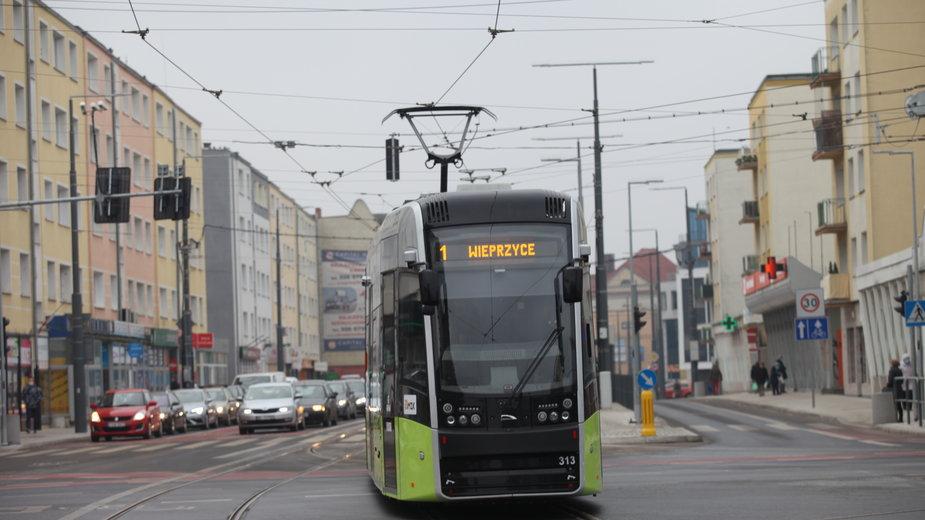 Tramwaj w centrum Gorzowa