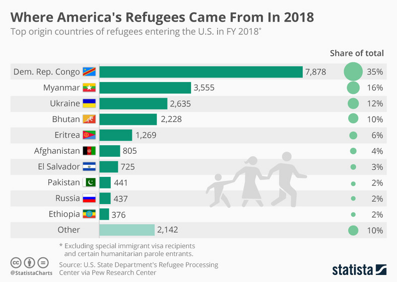 The top 10 origin of refugees in the United States (statista)