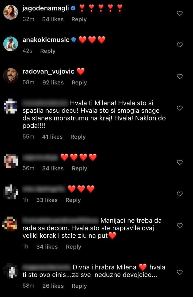 Komentari ispod Milenine objave na Instagramu