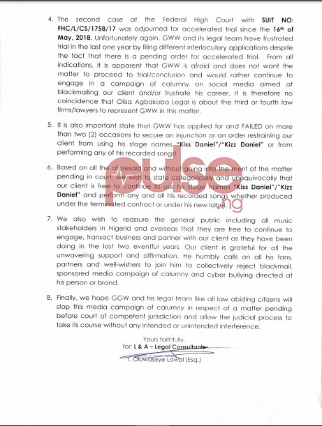 Pages 1 and 2 of the reply signed by Olwaseye I. Lawal (Esq.) on behalf of Kizz Daniel. (Pulse Nigeria)