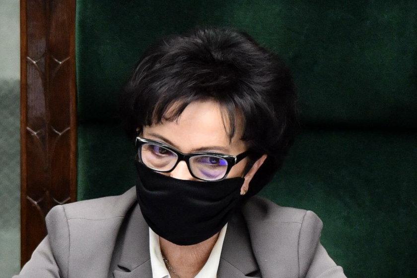 Elżbieta Witek w maseczce