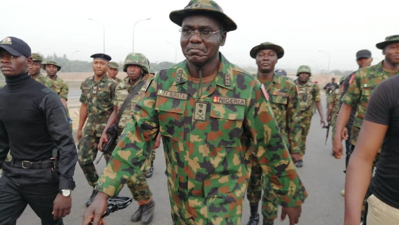 Chief of Army staff Lit-Gen. Tukur Buratai leading troops out on a parade [Twitter/@HQNigerianArmy]