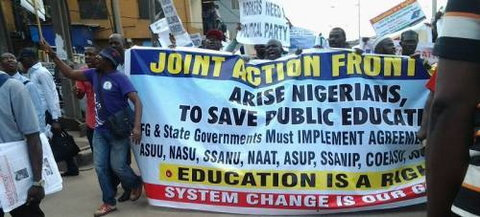 ASUU engaged in mass actions to press further its demand on the Nigerian Government for better funding of the education sector. (Illustrative image) [Sahara Reporters]