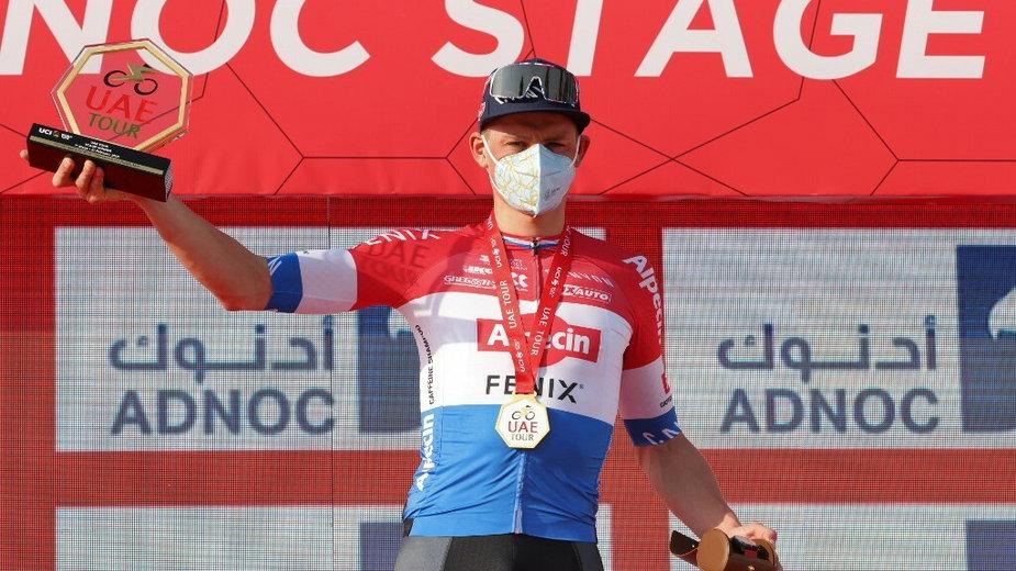 Mathieu van der Poel zwyciężył pierwszy etap wyścigu UAE Tour, 21.02.2021 r.