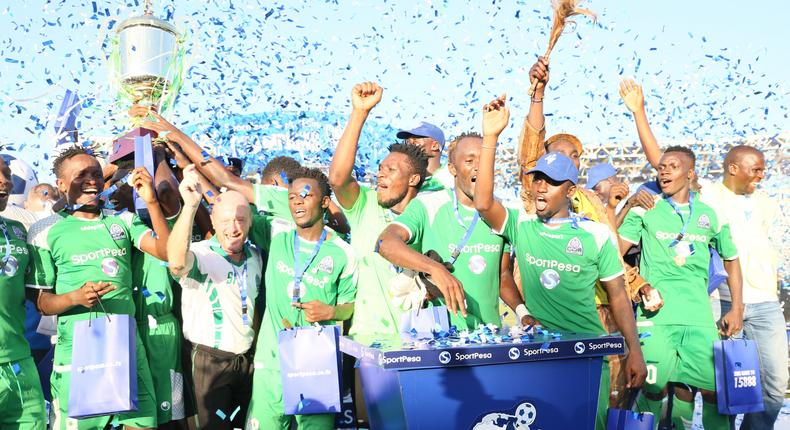 Kenyan local football team, Gor Mahia which is sponsored by sport betting firm Sportpesa celebrating a past winning.