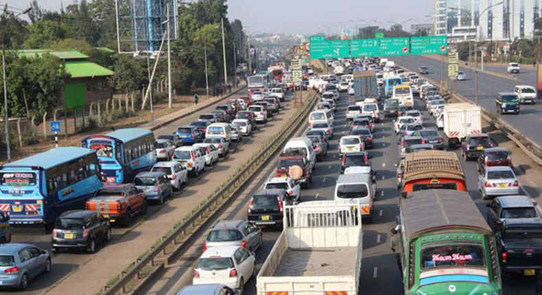 Vehicles stuck in traffic