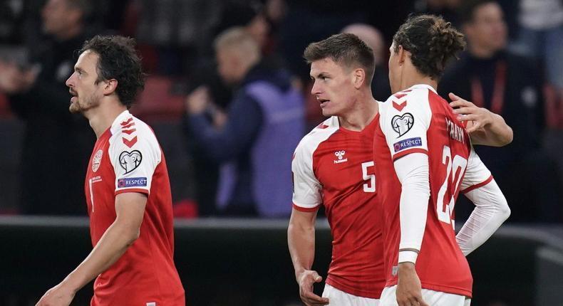 Joakim Maehle (centre) scored the crucial goal for Denmark Creator: Liselotte Sabroe