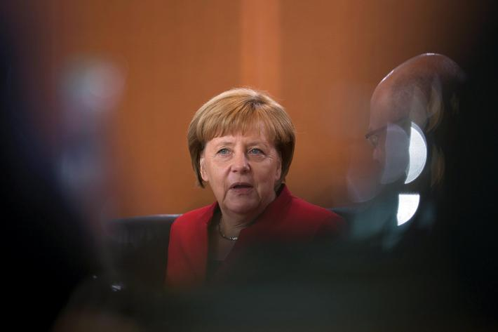 German Chancellor Angela Merkel attends a cabinet meeting at the Chancellery in Berlin
