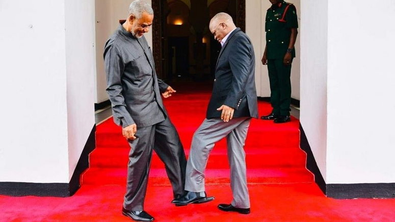 Image result for Tanzania's president foot greet