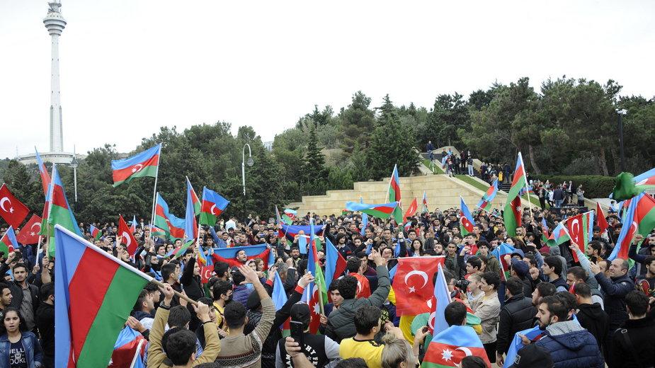Obywatele Azerbejdżanu świętują w stolicy, Baku, 10 listopad 2020 r