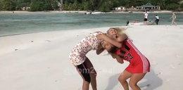 Bójka w telewizji. Blondynki walczą w piasku