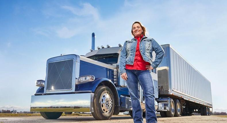 Ingrid Brown and her truck, named Miss Faith.
