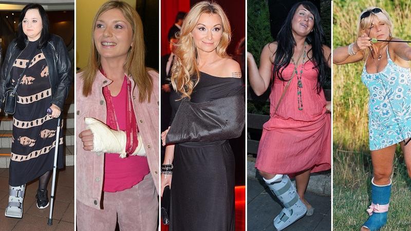 Kontuzjowane gwiazdy: Gosia Baczyńska, Edyta Olszówka, Martyna Wojciechowska, Kasia Wilk i Dorota Stalińska