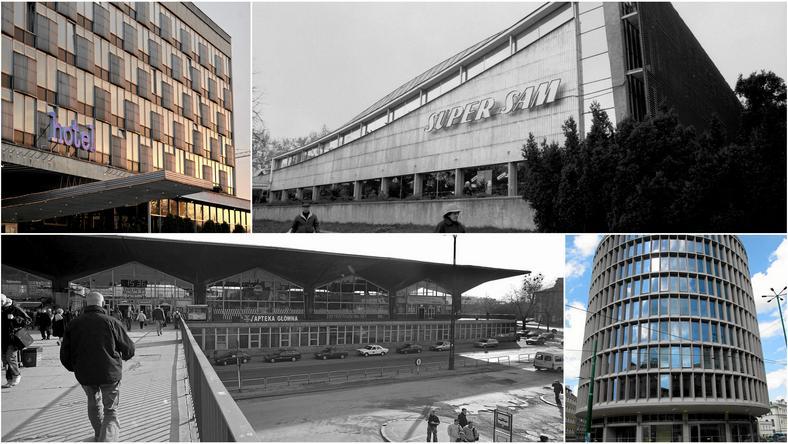 Hotel Cracovia, Supersam w Warszawie, Dworzec PKP w Katowicach i Okrąglak w Poznaniu