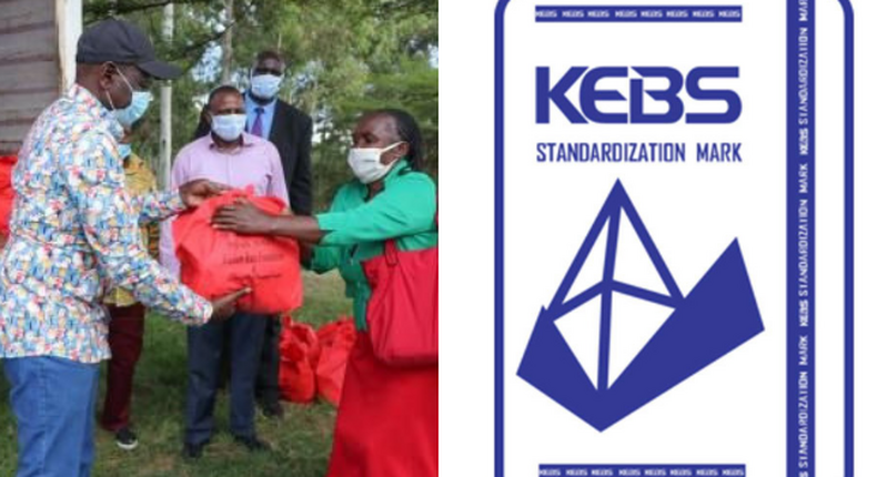 DP Ruto during one of his Relief Food donations Campaign pitted against the KEBS Log