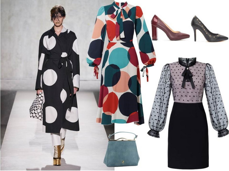 Urocze kropki i grochy dodają wdzięku i wyjątkowości.Świetniesprawdzają się na sukienkach i dodatkach. NA ZDJĘCIU: sukienki - Modern Line/ modernline.pl, buty i torebki - Menbur/ menbur.pl.