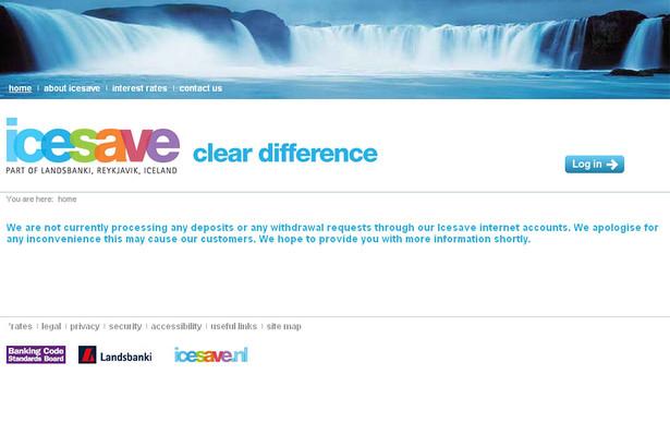 Strona internetowa upadłego islandzkiego banku IceSave. Fot. Bloomberg
