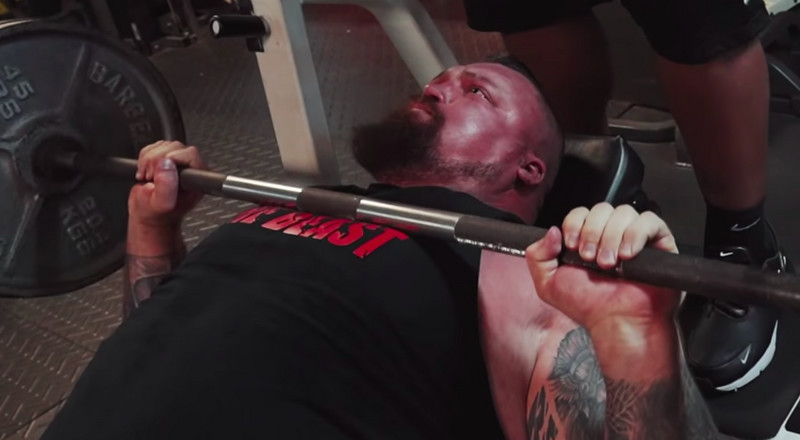 Strongman Eddie Hall Tries to Bench Press as Much as the World Record Holder