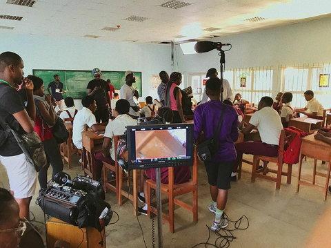 Tope Oshin and Daniel Ademinokan worked on the set of MTV Shuga Naija Season 4. [Instagram/MTVShuganaija]