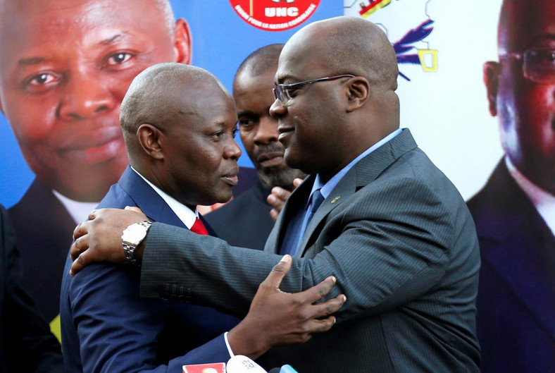 Felix Tshisekedi, right, of Congo's Union for Democracy and Social Progress opposition party and Vital Kamerhe of  Union for the Congolese Nation after the latter endorsed him.
