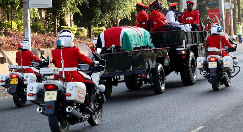 The Late retired President Daniel Moi's body taken to Parliament ahead of public viewing