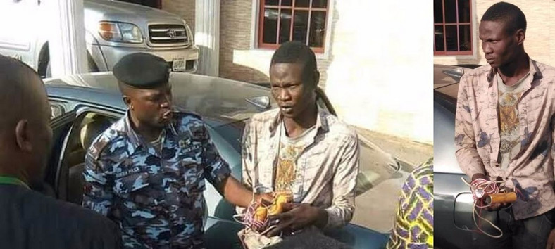 A middle-aged suicide bomber, Nathaniel Samuel was picked by CCTV, and subsequently arrested at Winners' Chapel in Kaduna. [Guardian]