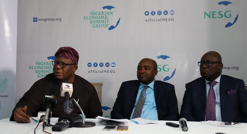NESG officials during press conference at the unveiling of the new brand identity and discussion on the 25th Nigerian Economic Summit